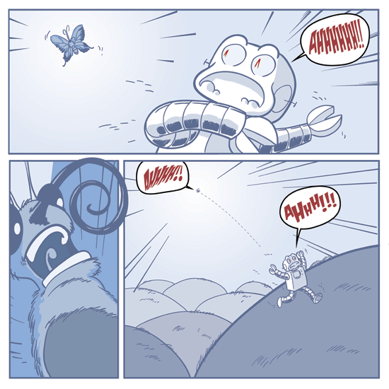 walter the butterfly encounters G.A.R.K. the robot