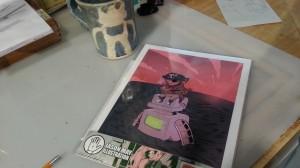 ooman, robot, pirate, ocean, print, jason may, jasonmayart, jimmycakes, pink, sun set, clouds, beautiful, fun, quirky, whimsical