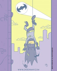 batman, hanging, stuck, trapped, oops, silly, cartoon, goofy, jason may, jasonmayart, jimmycakes, bat signal, batarang, harpoon, grapple