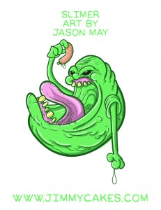 slimer, ghostbusters, ghost busters, ghost, hot dog, eating, sketch, illustration, jasonmayart, jimmycakes, jason may