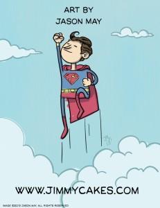 superman, flying, clouds, cartoon, jason may, jasonmayart, jimmycakes, sky, up up and away